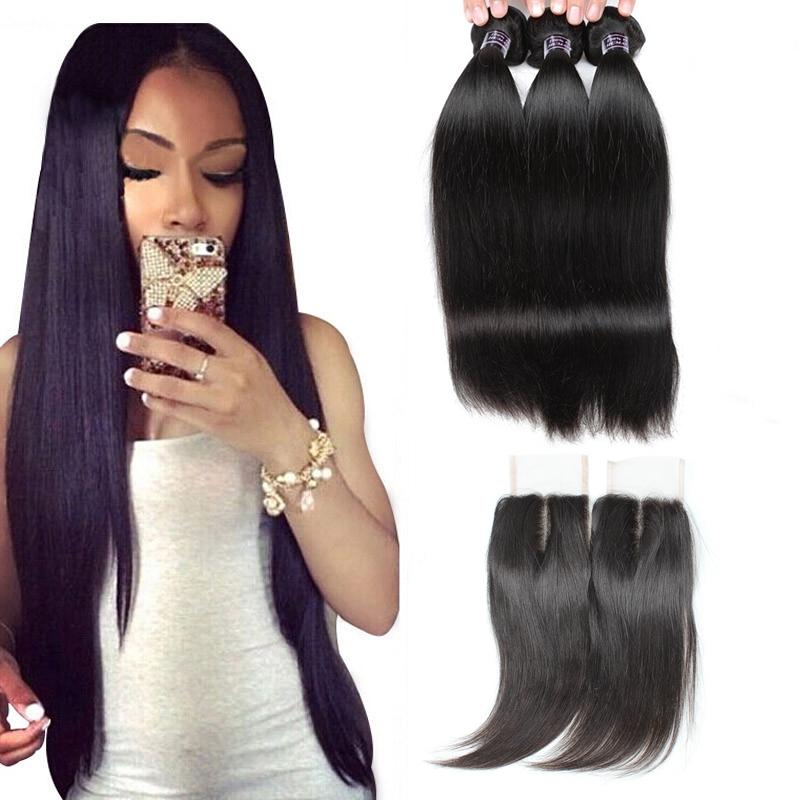 Ishow 9A Human Hair Bundles With Closure Water Curly Body Virgin Hair Extensions Deep Loose 3/4pcs With Lace Closure Straight