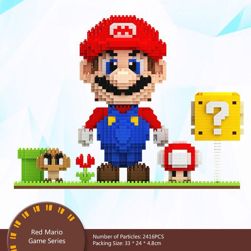 Micro-Red diamante verde Mario pequenas partículas Brinquedos infantis Building Block Puzzle brinquedo pai-filho Boy Meninas Interativo DIY presente de aniversário