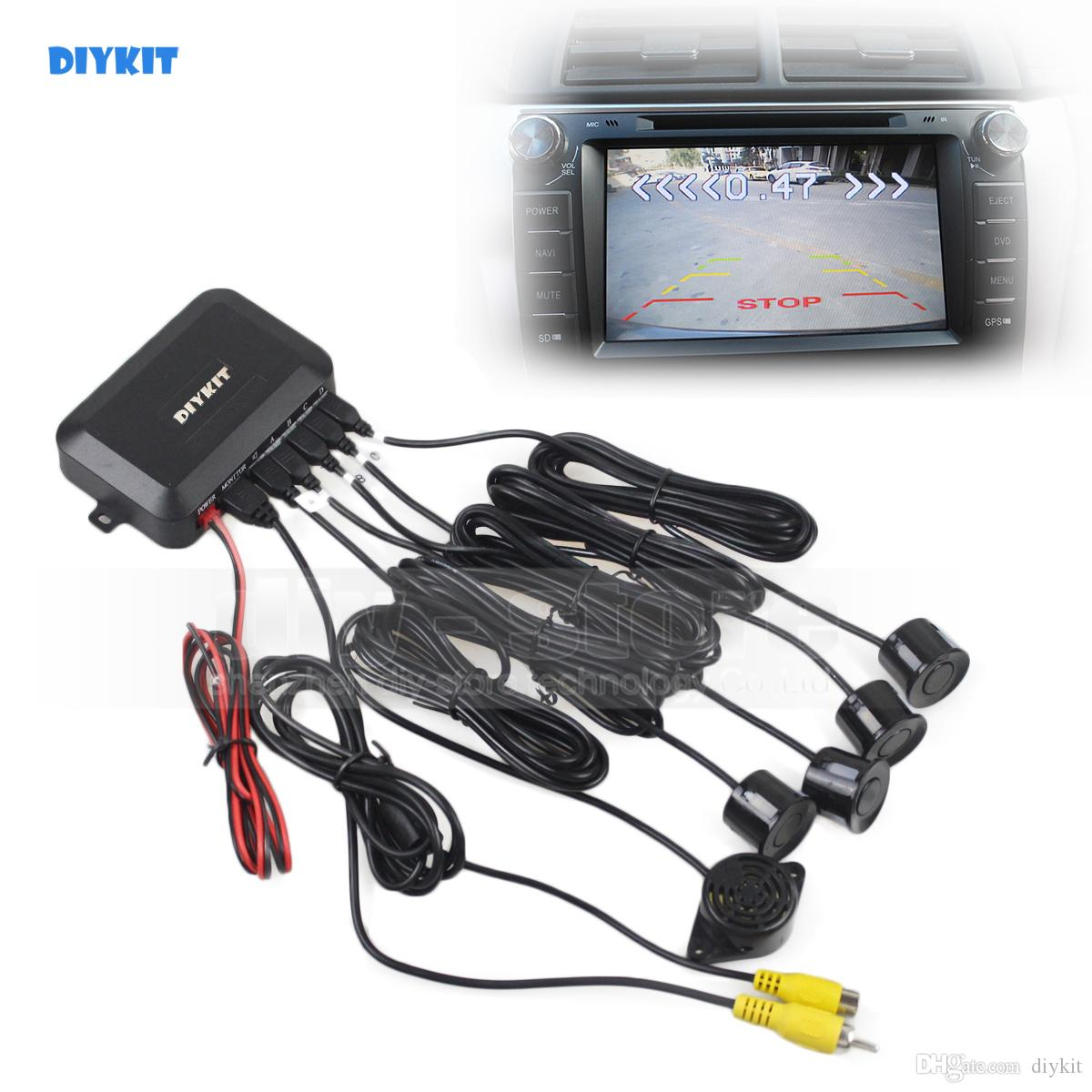 DIYKIT Video Parking Radar Parking Sensor Rear View Backup Security System Kit Sound Buzzer Alert Alarm for Car Camera Car Monitor