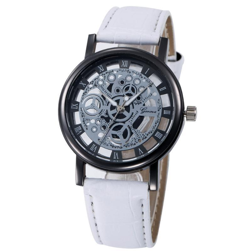 Retro Design Hollow Out Dial Watches Women Mens Faux Leather Strap Analog Quartz Watch Ladies Commoncial Vintage Watch Relogio # YL5