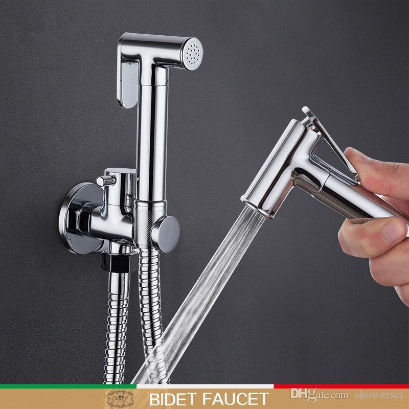 Bidet faucet hand shower Bathroom bidet shower faucet Chrome shower set toilet bidet Brass wall mount bathroom tap mixers