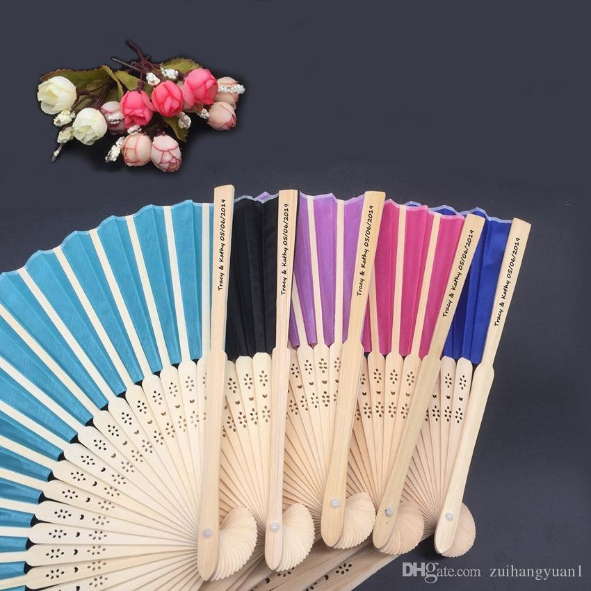 2020 Personalized Silk Hand Fans with Laser Cut Boxes Free Shipping 50pcs Lot Wedding Favors Bridal Shower Souvenir