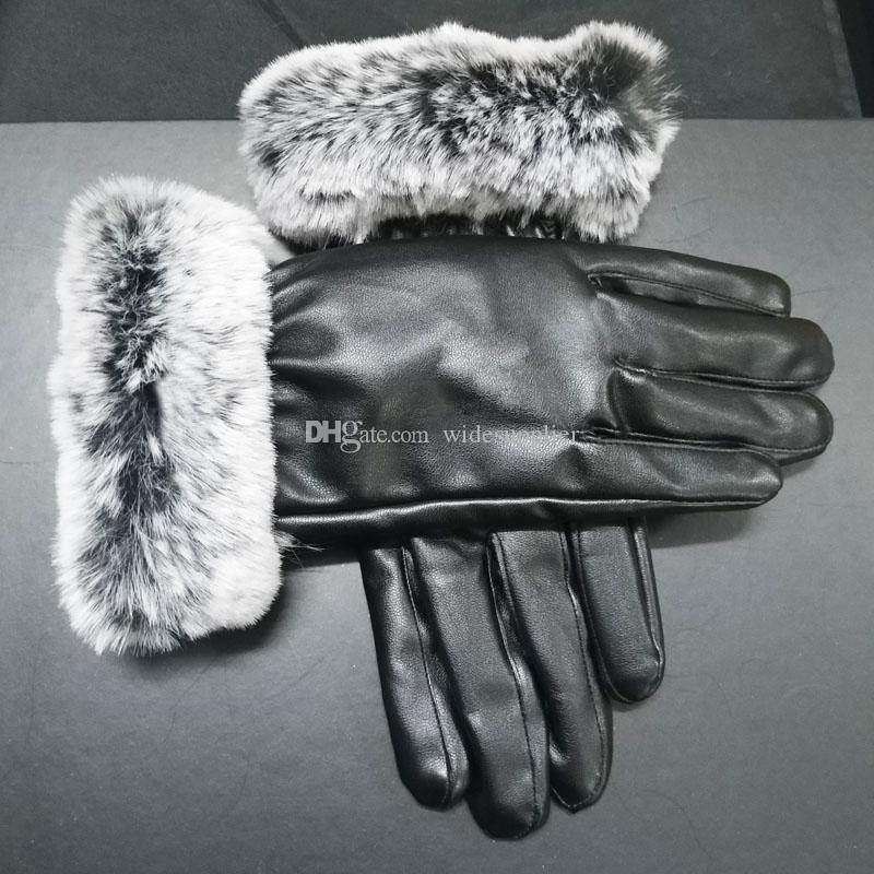 Fashion Black Leather Gloves Brand Designer Gloves Women Men Winter Warm Luxury Gloves Very Good Quality Five Fingers Covers