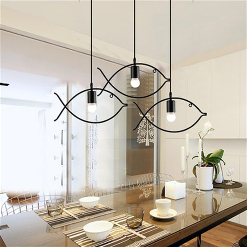 Indoor Simples Modern Chandelier Pandent Lamp Peixe animal E27 AC220V Black Ball Sala Restaurante Café Bar Art Deco Início