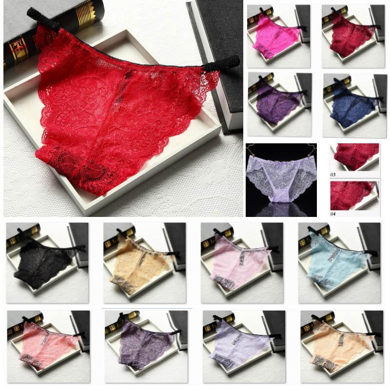Triángulo de las mujeres atractivas del cordón de la ropa interior transparente pantalones cómodo inconsútil bragas Briefts Inicio Ropa regalos de San Valentín HH9-2226