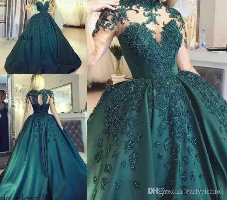 Vinatge verde escuro mangas compridas bola vestido de bola quinceanera vestidos beading lace apliques cetim vestidos de noite plus tamanho festa formal desgaste