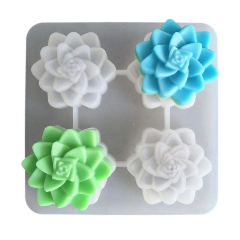 Succulent Plants Flower Glycerin Handmade Soap 3D Mold, Silicone Mold, Food Grade Silicone, Suitable for Cake Decoration, Candy,