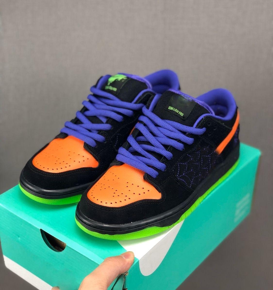 2019 6817 006 Sb Dunk Low Night Of Mischief BQ preto total Laranja Tribunal roxo Volt Halloween Homens Running Sports Sneakers Outdoor Shoes