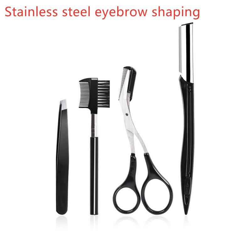 Stainless Steel Eyebrows Tool 4Pieces/set Eyebrow Kit Beauty Makeup Eyebrow Shaping Set Scissors Comb Clip Knife