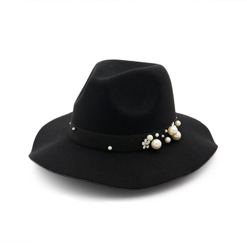 Fashion- Dekor Fedorahüte Frauen Wide Brim Hüte handgemachte Filz-Jazz-Kappe Damen Trilby Derby Formal Hüte für Weibliche