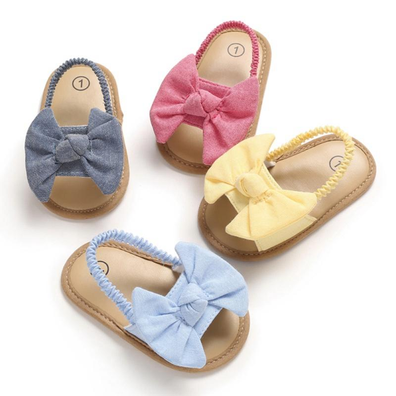 Newborn Toddler Baby Infant Shoe Kids Girl Boys Summer Soft Sole Bow Sandal Shoes For 0-18M