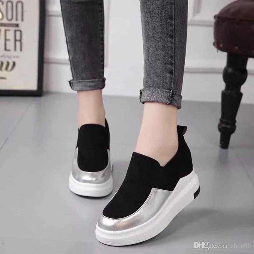 Con la caja de la zapatilla de deporte de los zapatos ocasionales Formadores Moda Calzado deportivo de cuero de alta calidad de las botas deslizadores de las sandalias de la vendimia de aire para la mujer 06PX567
