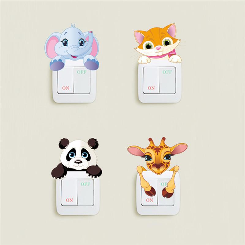 Cute Animals Elephant Cat Panda Giraffe Light Switch Sticker Remoable Wall Sticker For Kids Baby Nursery Home Decal Murla Decor D19011702