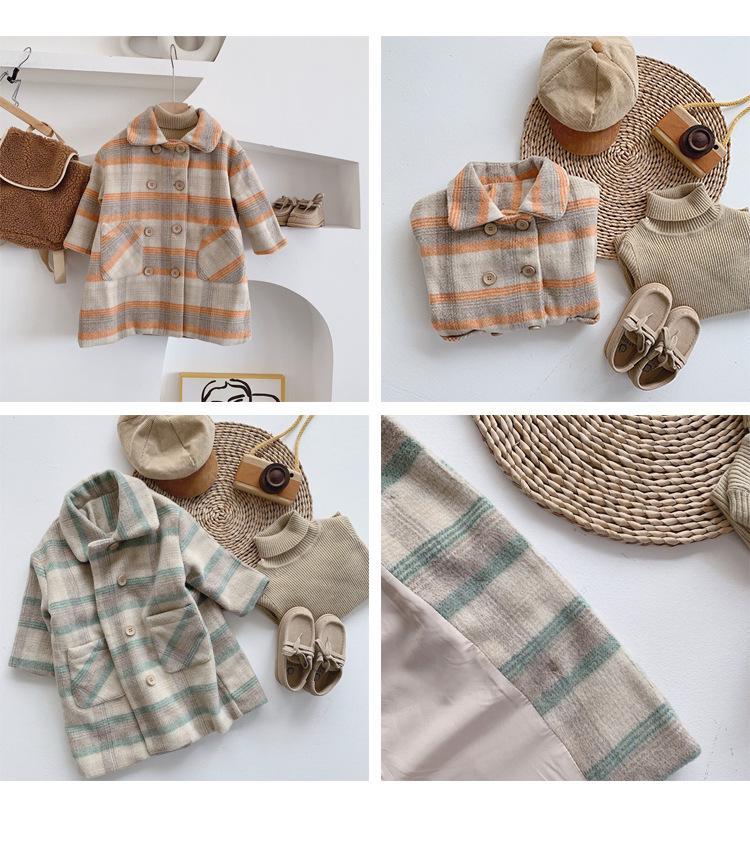 Autumn Winter 2019 fashion boys girls plaid woollen long coats cute kids children double breasted Wool jackets