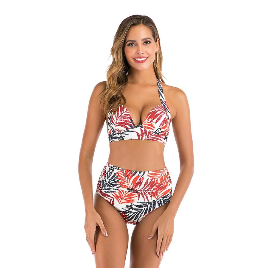 Yeni Kadınlar Katı Renk Bikini Seksi Kadın Mayo Orta Bel Biquinis Yıkanma Suits Yukarı Beachwear Kadın Mayolar 2020 # 286 itin'S