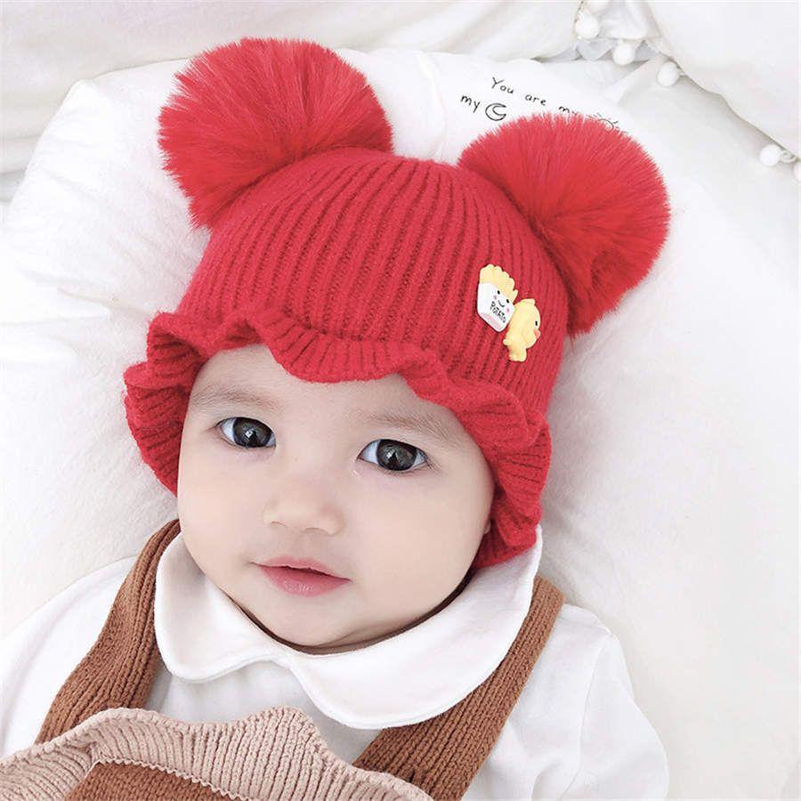 Dual Ball Winter Warm Cute Newborn Kids Boy Girls Crochet Baby Hat Unisex Pompom Real Fox Fur Ball Beanies Baby Cap