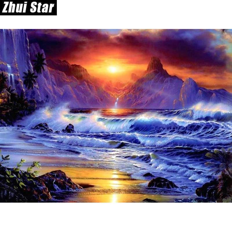 """La plaza del diamante lleno 5D DIY diamante Pintura """"Hermosa vista al mar"""" bordado de punto de cruz del Rhinestone Mosaico Pintura Decoración"""