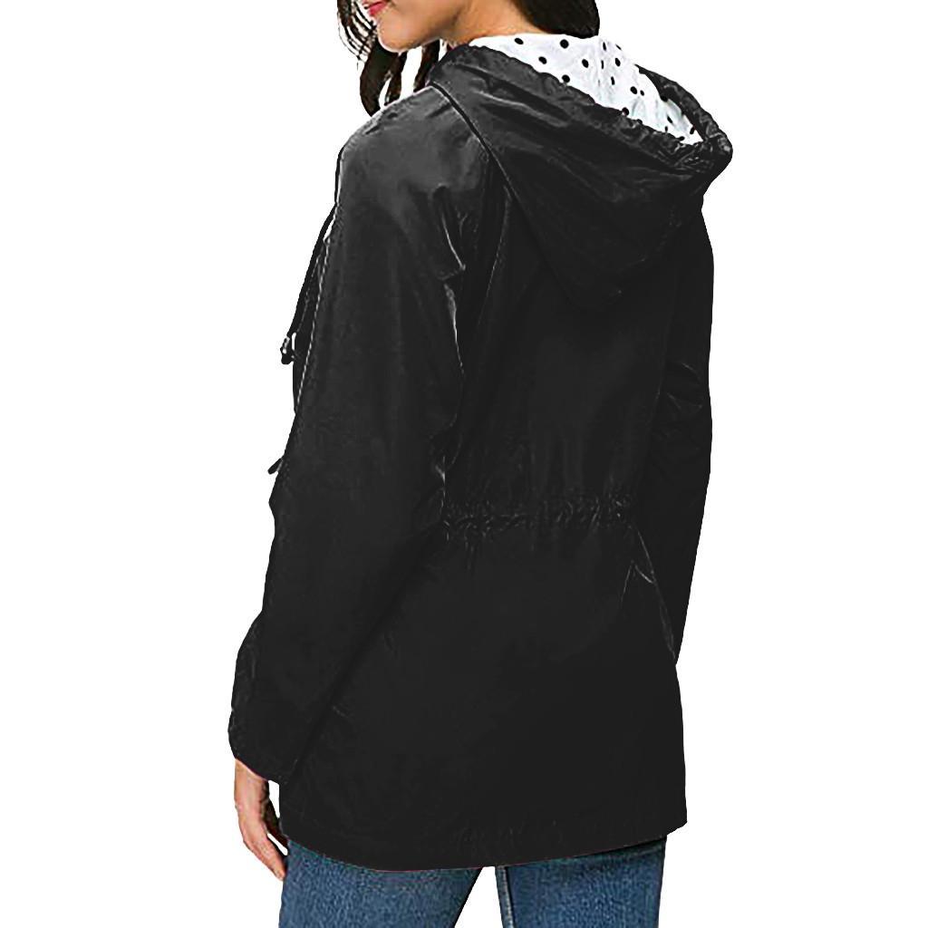Abbigliamento taglie forti esterna impermeabile Giacca leggera pioggia con cappuccio impermeabile donne Tasche cappotti e giacche escursione del campeggio