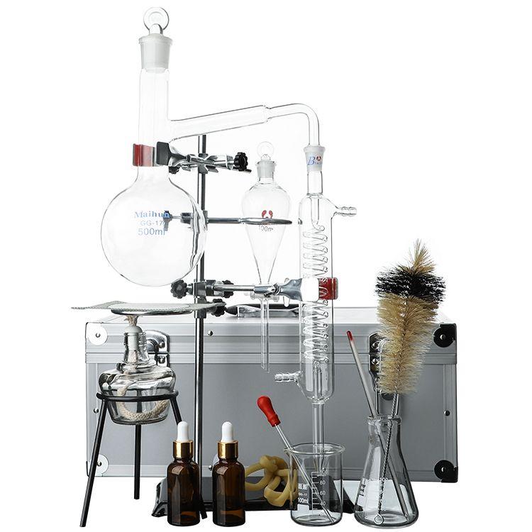 Zoibkd أسطواني النفط التقطير جهاز استخراج العشبية معدات مجموعة مختبر الأواني الزجاجية مجموعة 500 مل قارورة