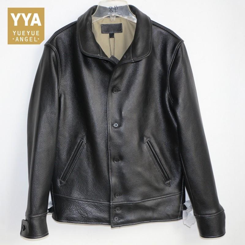 Hochwertige Rindslederjacken Männer Vintage Echtes Rindsleder Mäntel Langarm Einreiher Mode