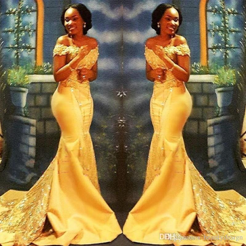 Sirena amarilla nigeriana africana vestidos de fiesta largos 2019 de hombros de encaje con lentejuelas de satén vestidos de fiesta por la noche BA8405