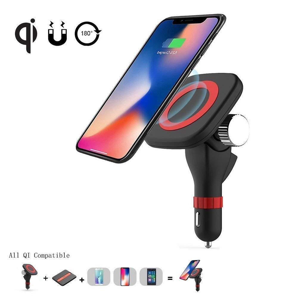Senza fili dell'automobile del supporto del caricatore, Fast Charge adattatore USB Magnetic 3-in-1 con mani libere per Qi smartphone Android, Samsung Note LG Nexus e Altro