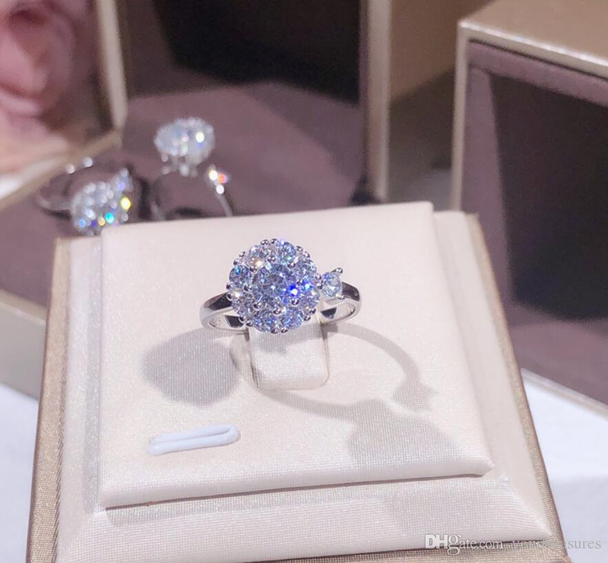 Kadınlar için 925 Ayar Gümüş Dönen Yüzük Nişan Alyans Düğün Gelin Yüzük Charm Takı Çiçek Yüzük