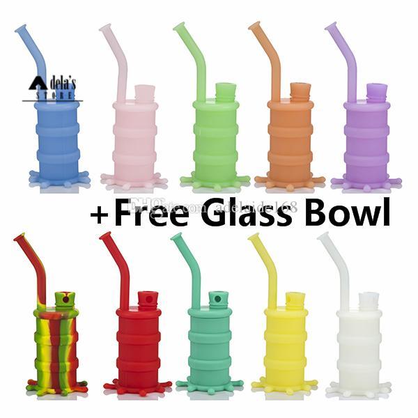 Pipe en verre Tambour silicone eau + Free + Downstem Bowl Rigs Mini Silicon Mini Bang colorés 4 parties solides Bongs lumineux fumeurs DHL 416