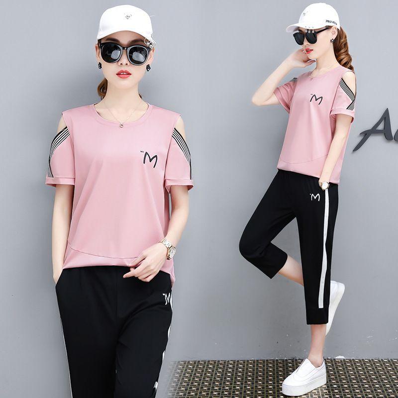 3xl costume d'entraînement de sport costumes 2019 été décontracté chemise courte + pantalon ensembles de 2 pièces pour les vêtements féminins Y19071301