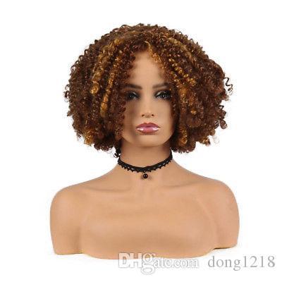 Perruque courte pour les cheveux bouclés femmes Ombre Brun Afro Kinky Perruques cheveux bouclés synthétiques