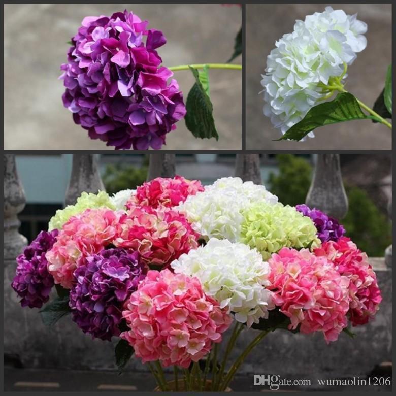 "Flor de Hortensia Artificial 80 cm / 31.5 ""Seda Falsa Hortensias Únicas 5 Colores para Centro de Bodas Fiesta en Casa Flores Decorativas"