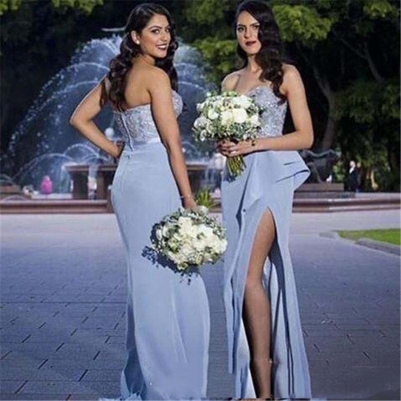 Mermaid Prom Dresses Sweetheart Front Split Ruffles Train Formal Guest Party Evening Gowns Custom Made Dress