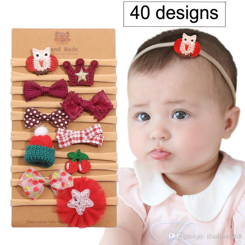 40 Designs baby candy colors Bow Designer headband Cute baby girls elegant hair bows with card Christmas Gifts 10pcs/lot