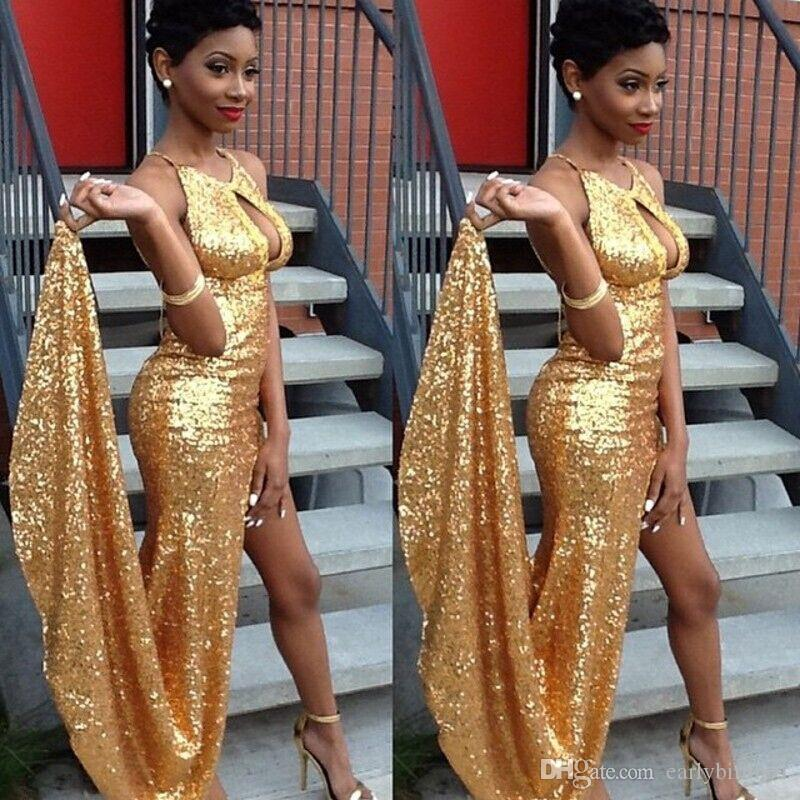 New Arrival Sexy Halter Gold Sequined Prom Dresses Long High Side Split Evening Dresses Long Party Gowns Custom Made