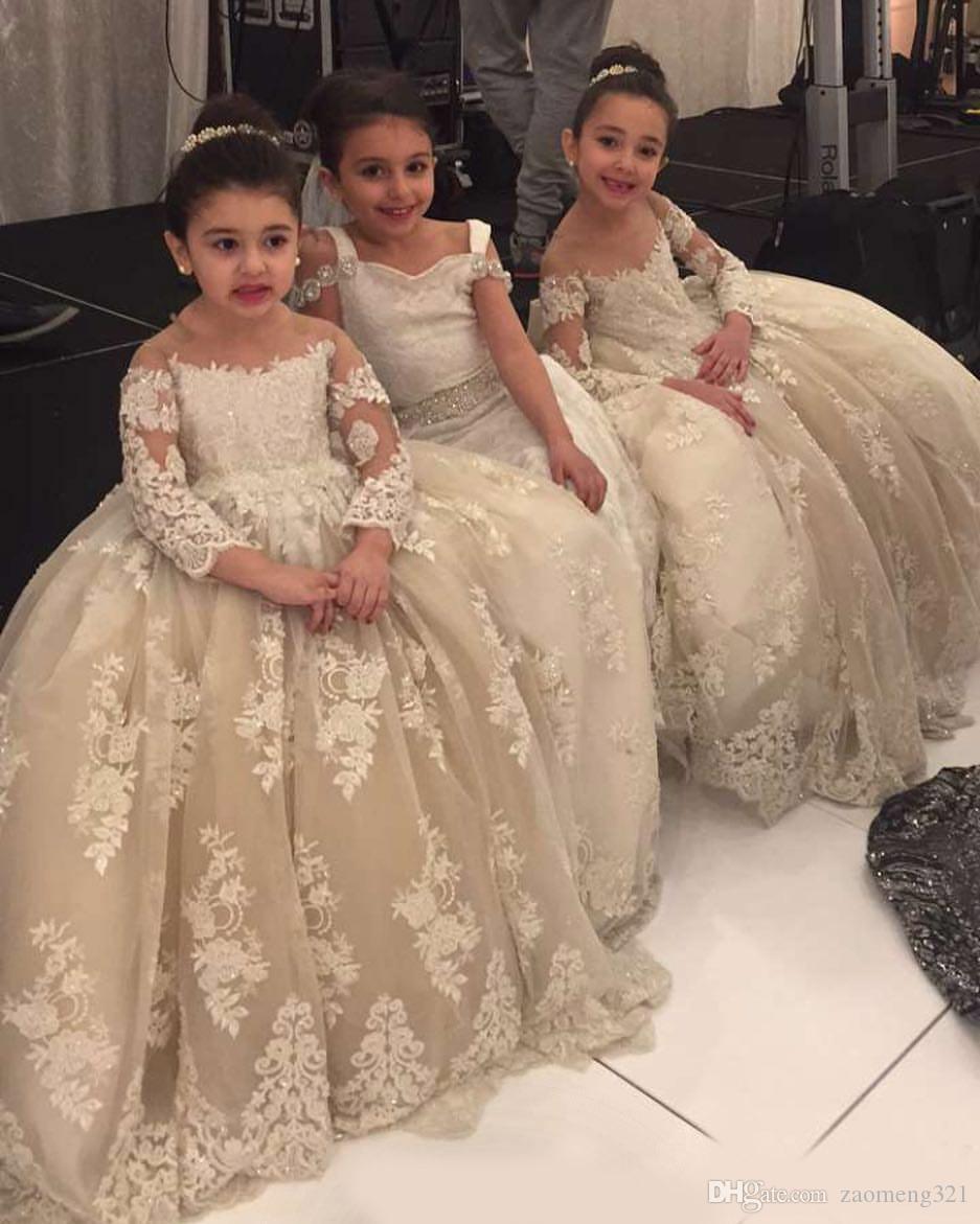 Marfil lujoso encaje flor niña vestidos sheer cuello manga larga niña niña vestidos de novia vintage comunión desfile vestidos vestidos