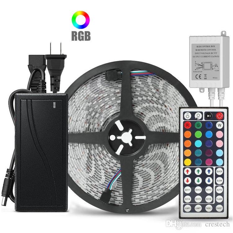 10m 5m 유연한 RGB LED 라이트 스트립 5050 SMD 5m 300 LED 44Key IR 리모컨이있는 10m 600 LED