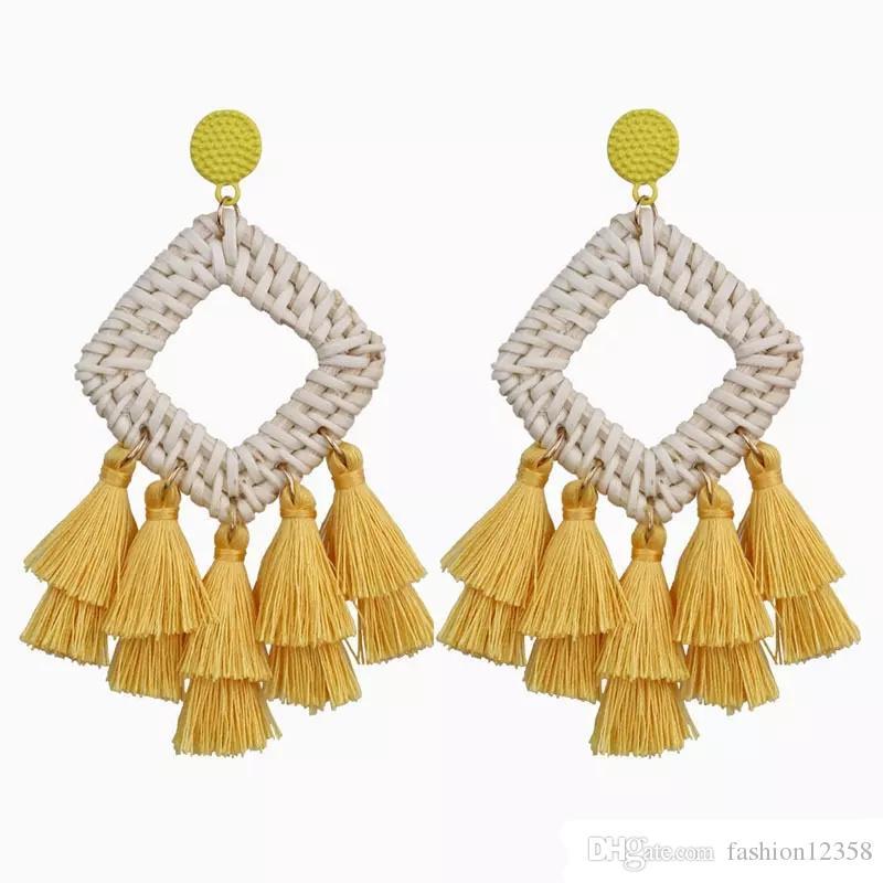 Boho handgemachter Diamant Straw Weave Rattan-Ohrringe für Frauen Trendy lange Quaste Statement Ohrringe Bohemian Schmuck