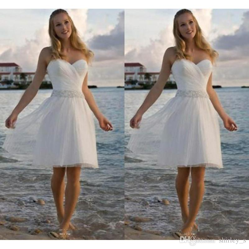High Quality Sweetheart Rhinestone Tulle Casual Beach Wedding Dresses A Line Short Bridal Gowns Cheap Party Gowns