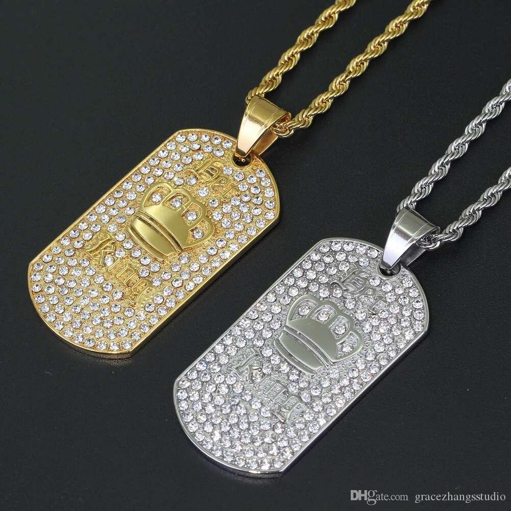 hip hop letters king pendant necklaces for men women luxury diamonds crown pendants stainless steel dog tag necklace jewelry free shipping