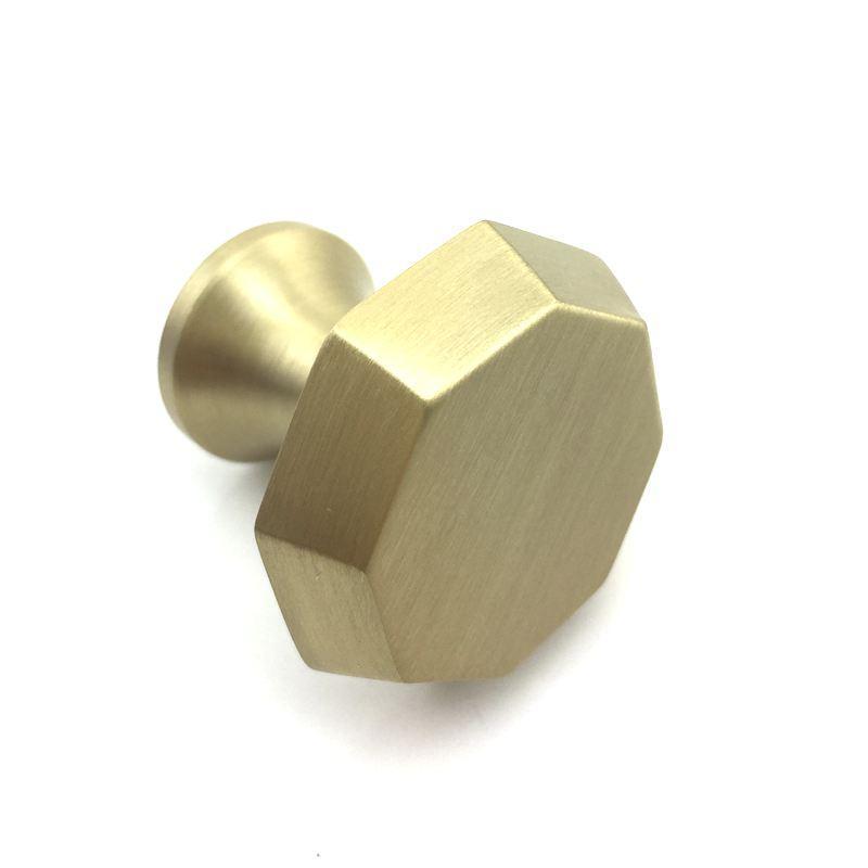 Perillas de gabinete de oro Modern vintage Brushed Solid Brass Octagon forma Muebles Hardware Cómoda Cocina Cajón Pomo de la puerta Tire de la manija en stock