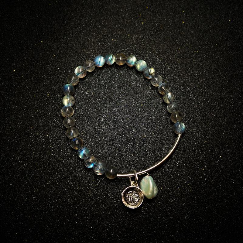 Lily Jewelry Blue Light Labradorite Pearl Bracelet 925 Sterling Silver Stretched Bracelet Heaaling Helps digestion Dropshipping