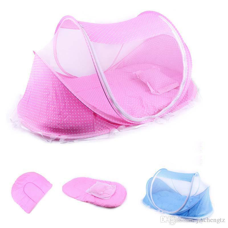 New Portable Foldable Baby Kids Infant Bed Dot Zipper Mosquito Net Tent Crib Sleeping Cushion collapsible Hot Selling Baby Infant Bedding