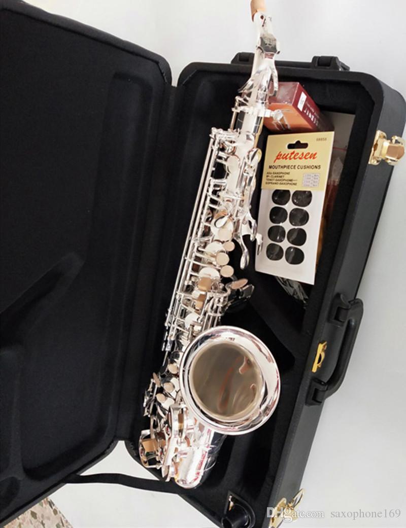 Saxofón Alto YANAGISAWA A-992 plateado mi bemol Marca Musical Instrument Sax con la caja de latón Reed. boquilla