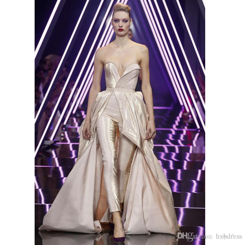 2019 New Modern Champagne Jumpsuit With Train staccabile Sweetheart Sweep Train Long Evening Gowns Taffetà Vestito da donna