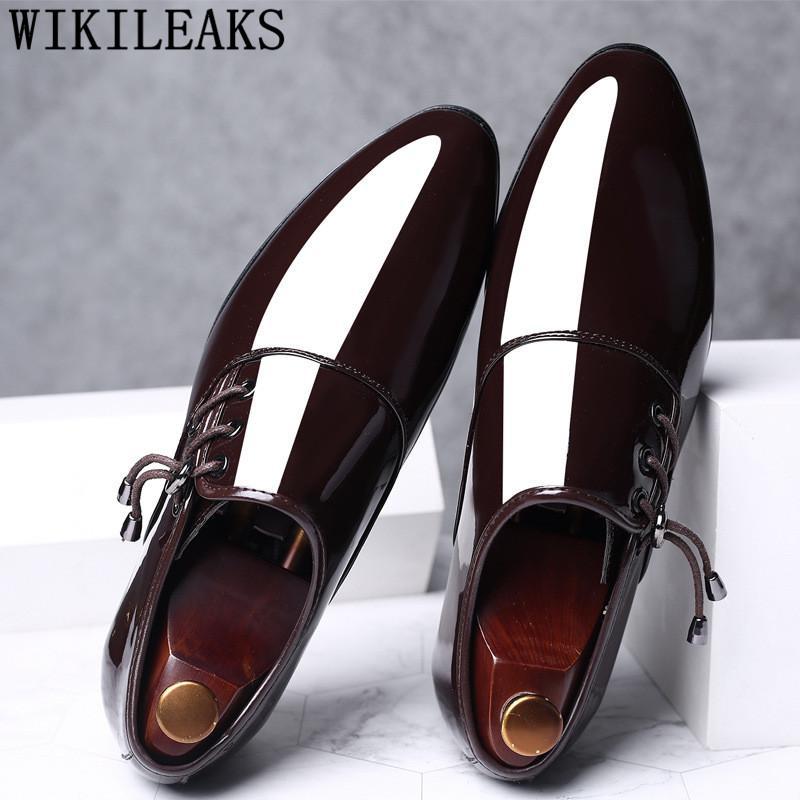 Zapatos de la boda vestido de cuero para hombre de los zapatos de la patente del dedo del pie puntiagudo hombres zapatos de fiesta Derby Oxford para los hombres Zapatos de vestir Hombre