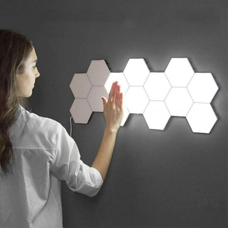 DIY Quantum Lamp Touch Sensor Modular Light Hexagonal Lamp LED Night Light Magnetic Hexagons Creative Decoration Wall Lampara