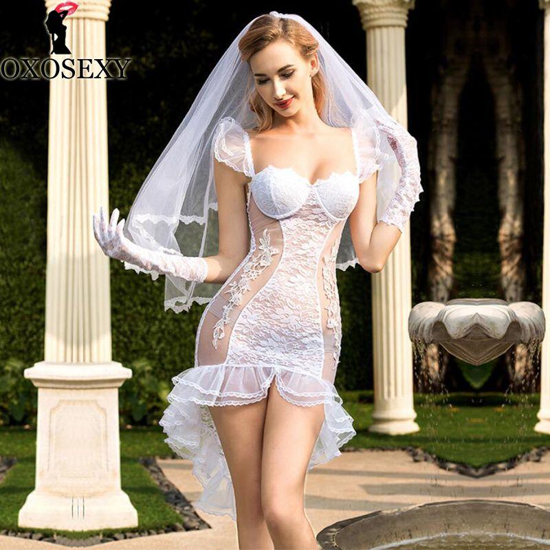 New White Bride Cosplay Tuxedo Saia Vestido de Noiva + véu + luvas + tanga Sexy Baby Doll Lingerie Sexy Sexy Babydoll Trajes 292