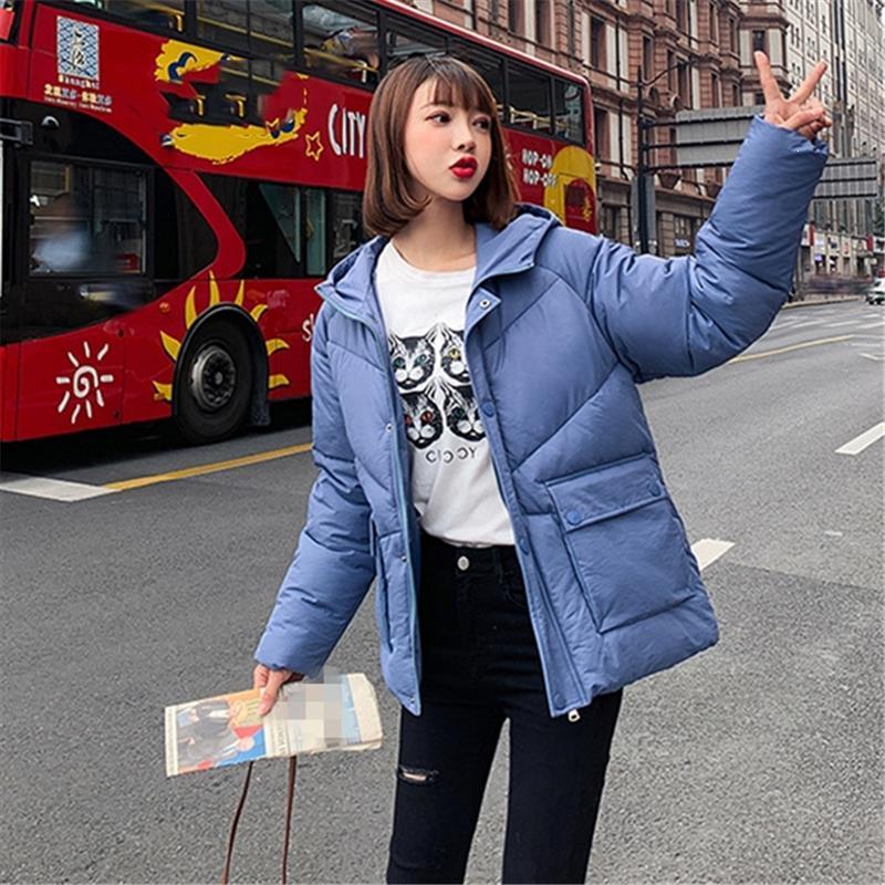 Женщина зимы теплые Сплошные Молнии с капюшоном проложенные повседневные Карманы Короткие куртки Женский Толстый Теплый Parkas