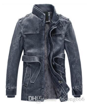 Freies Verschiffen neue Mode 02 langen Abschnitt warme PU-Lederjacke Personalisierte Motorrad-Lederjacke der Wäsche-Männer