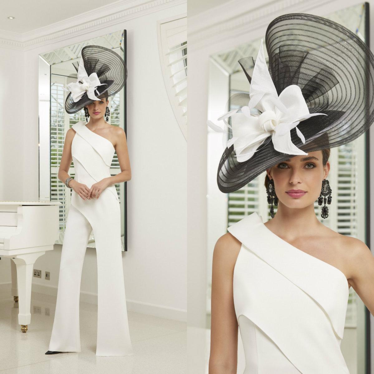 2020 New Jumpsuits Mother Of The Bride Dresses One Shoulder Pants Suit Tieres Wedding Guest Dress Elegant Evening Gowns